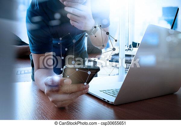 痛みなさい, 仕事, ビジネス, ビジネスマン, 新しい, 現代, 木製である, 電話, コンピュータ, 作戦, 机, 手, 概念 - csp30655651