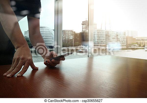 痛みなさい, 仕事, ビジネス, ビジネスマン, 新しい, 現代, 木製である, 電話, コンピュータ, 作戦, 机, 手, 概念 - csp30655627