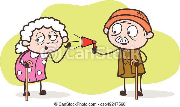 発表 イラスト ベクトル おじいさん 聞くこと おばあさん 漫画