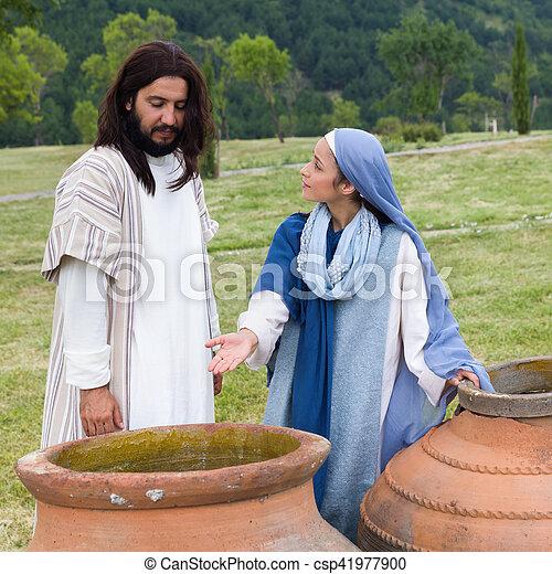 発言, いいえ, そこに, イエス・キリスト, 母, ワイン, mary, 左 - csp41977900