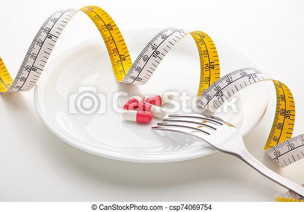 白い版, 丸薬, テープ, 測定 - csp74069754
