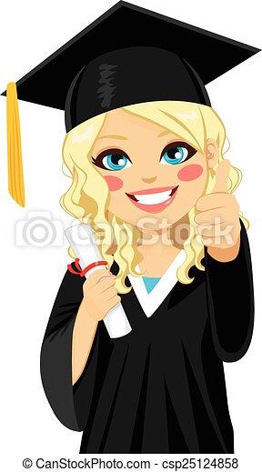 白膚金髮, 女孩, 畢業 - csp25124858