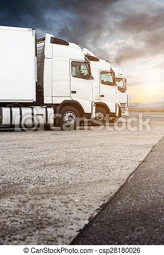 白色, 三, 卡車, 行 - csp28180026