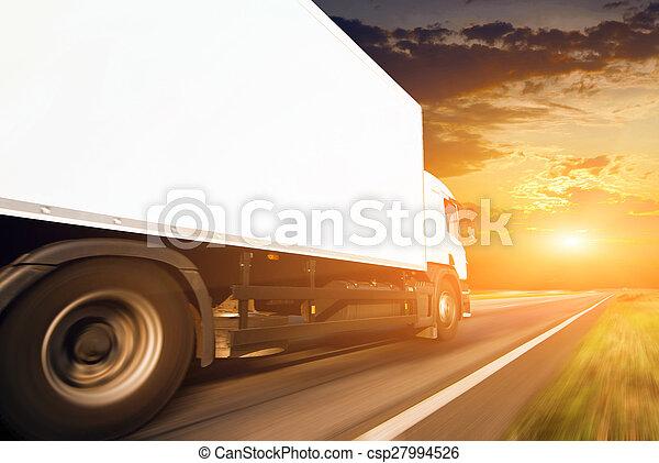 白色, 卡車, 路, 瀝青 - csp27994526