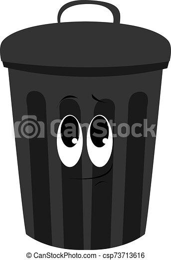 白色, 插圖, 罐頭, 黑色, 垃圾, 矢量, 背景。 - csp73713616