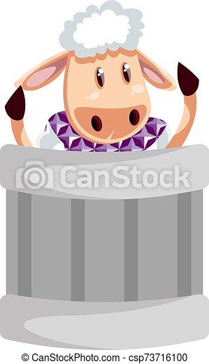 白色, 插圖, sheep, 罐頭, 垃圾, 矢量, 背景。 - csp73716100