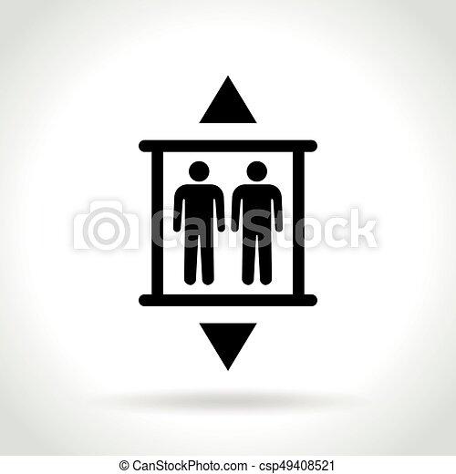 白色, 电梯, 背景, 图标 - csp49408521