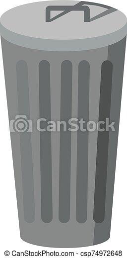 白色, 矢量, 插圖, 背景。, 罐頭, 垃圾 - csp74972648