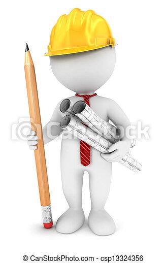 白色, 3d, 建筑师, 人们 - csp13324356