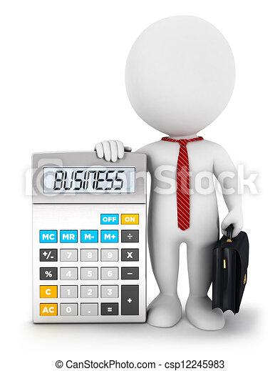 白色, 3d, 计算器, 商务人士 - csp12245983