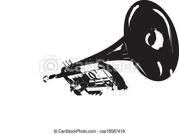白, イラスト, 黒, トランペット - csp18587419