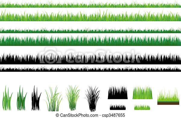 白, コレクション, 草, 隔離された - csp3487655