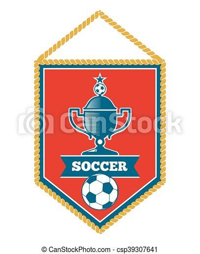 白 サッカー 隔離された 赤 優勝旗 カップ 隔離された イラスト