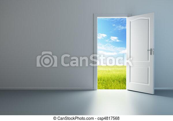白, ドア, 部屋, 空, 開いた - csp4817568