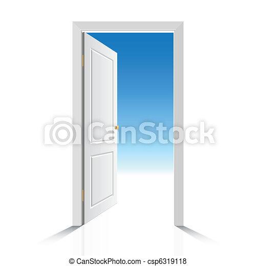 白, ドア, 開いた - csp6319118