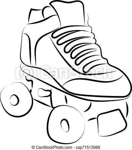 白, バックグラウンド。, スケート, ベクトル, ローラー, イラスト, スケッチ - csp71513069