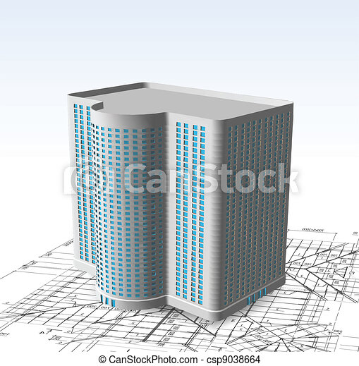 白, ベクトル, 現代, 建物。 - csp9038664