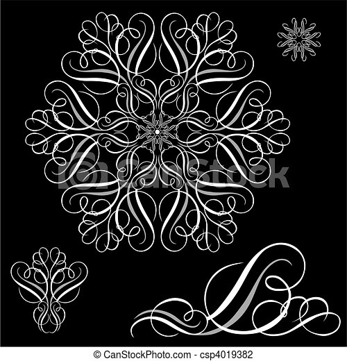 白, ベクトル, 装飾, セット - csp4019382