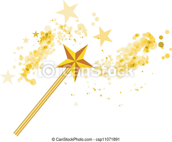 白, マジック, 星, 細い棒 - csp11071891