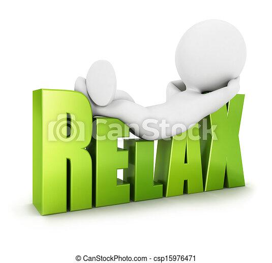白, リラックスしなさい, 3d, 人々 - csp15976471