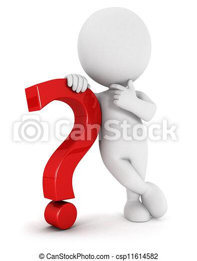 白, 人々, 質問, 3d, 印 - csp11614582