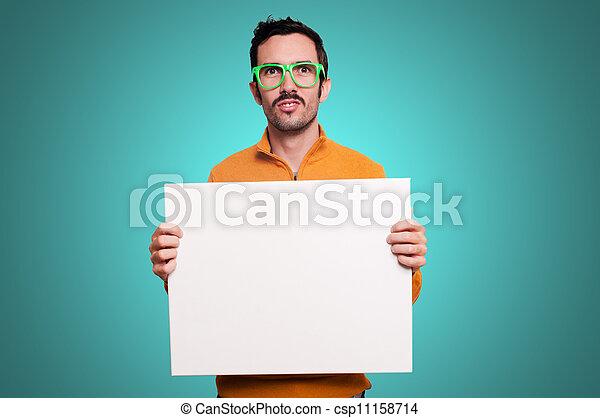 白, 人, 板, 保有物, ブランク - csp11158714