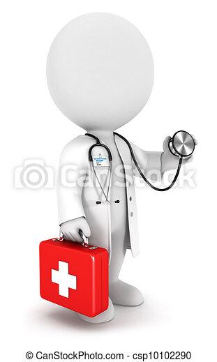 白, 医者, 3d, 人々 - csp10102290