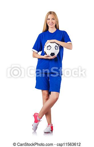 白, 女, フットボールをする - csp11563612