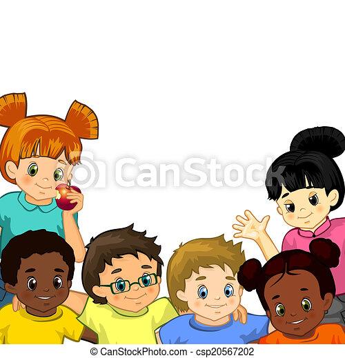 白, 子供, 背景 - csp20567202