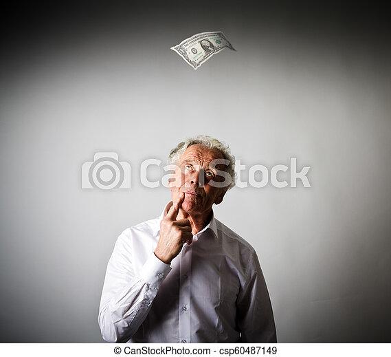 白, 1(人・つ), 老人, dollar. - csp60487149