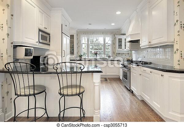 白, cabinetry, 台所 - csp3055713