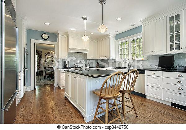 白, cabinetry, 台所 - csp3442750