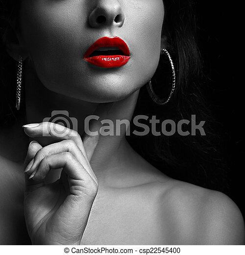白, lips., 黒, クローズアップ 女性, 赤, portrait., セクシー - csp22545400