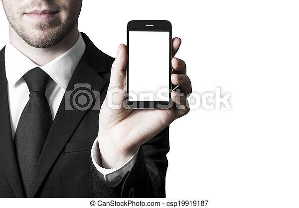 白, smartphone, ディスプレイ, 手, ブランク - csp19919187