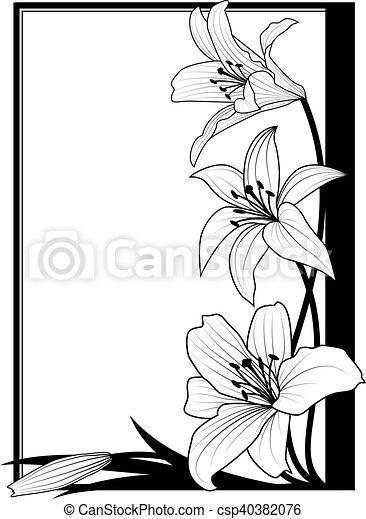 百合花, 框架, 黑色 - csp40382076