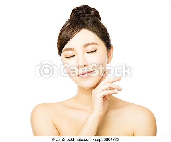 皮膚, 新たに, きれいにしなさい, 美しい額面, 女, 若い - csp36804722