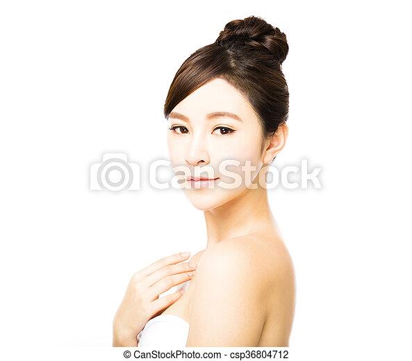 皮膚, 新たに, きれいにしなさい, 美しい額面, 女, 若い - csp36804712