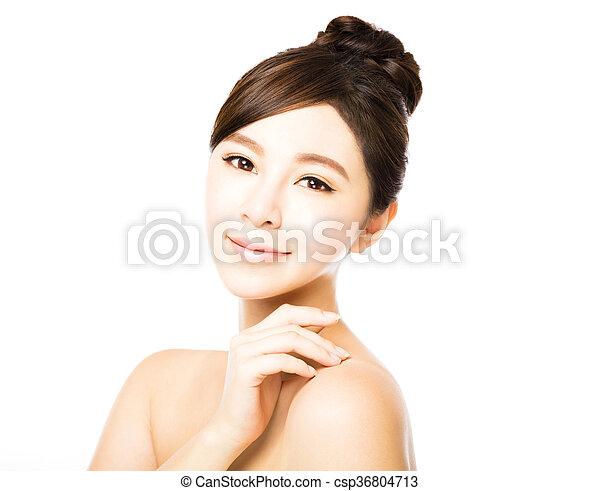 皮膚, 新たに, きれいにしなさい, 美しい額面, 女, 若い - csp36804713