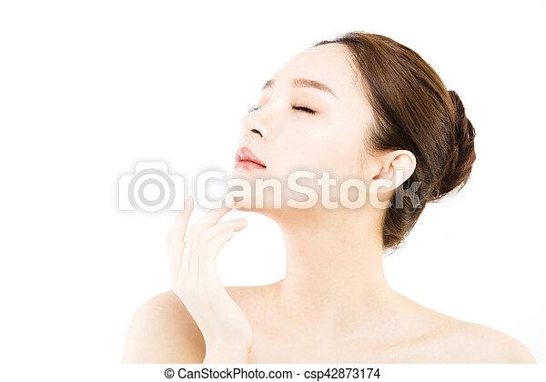 皮膚, 新たに, きれいにしなさい, 美しい額面, 女, 若い - csp42873174
