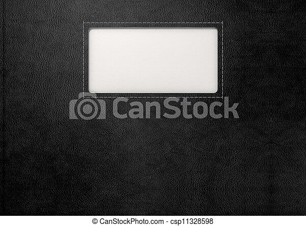 皮革, 鑲嵌, 黑色, 標簽 - csp11328598