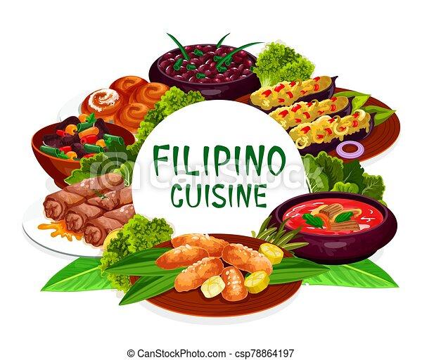 皿, ラウンド, フレーム, 料理, フィリピン人 - csp78864197