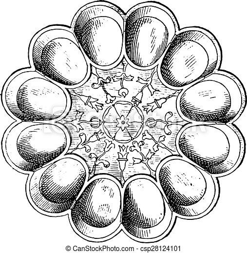 皿, engraving., hildesheim), 卵, (treasure, 銀, 型 - csp28124101