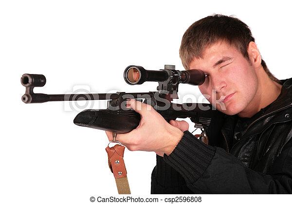目標, 狙撃兵, 人, 若い, 銃 - csp2596808