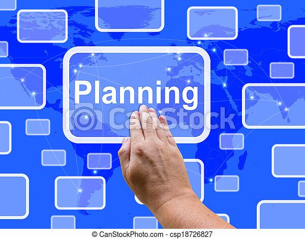 目的, 計画, 計画, タッチスクリーン, ショー, 組織しなさい - csp18726827