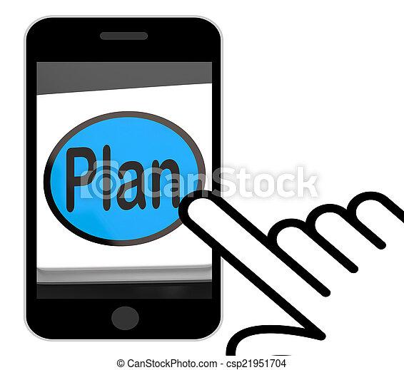 目的, 計画, 計画, 組織化する, ボタン, ディスプレイ - csp21951704