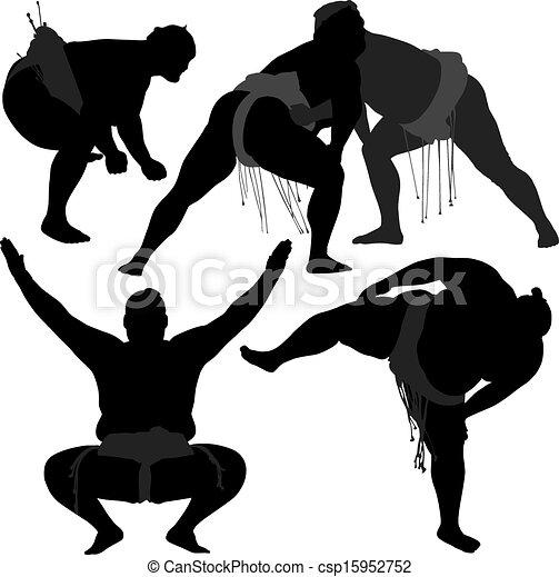 相撲, シルエット - csp15952752