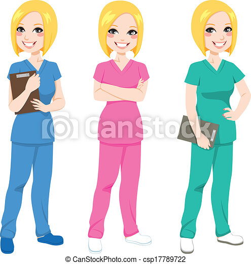 看護婦, ポーズを取る, 幸せ - csp17789722