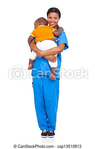 看護婦, 届く, アフリカ, 子供 - csp13510813