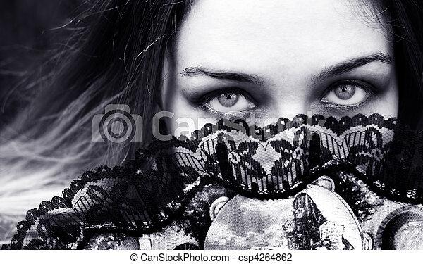 眼睛, 婦女, 後面, 迷, 誘人, 色情 - csp4264862