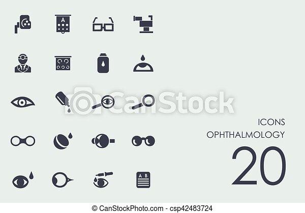 眼科学, セット, アイコン. セッ...